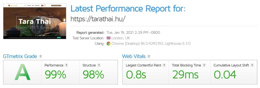 Egyoldalas weboldal, foglalási rendszerrel két nyelven – TaraThai - WebDizájn .hu