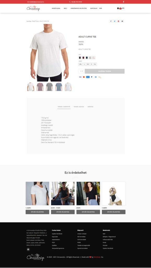 Webáruház termék variációkkal (több mint 40.000) - Cérnavarázs
