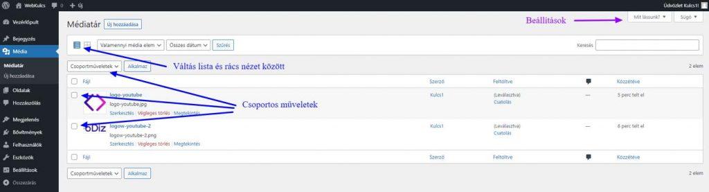 WordPress Admin - Média - Médiatár - lista nézet