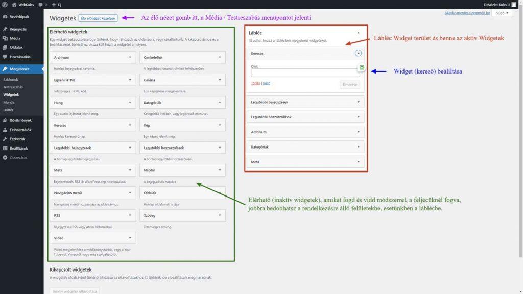 WordPress Admin - Widgetek kezelése